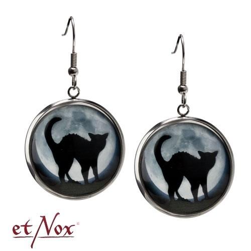 """etNox - Ohrringe """"Schwarze Katze"""" aus Glas und Zinklegierung"""
