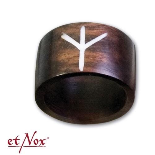 """etNox-Ring """"EOLH-Rune"""" Holz"""