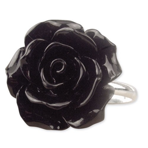 """etNox - Ring """"Black Rose"""" Polyresin + 925 Silber"""