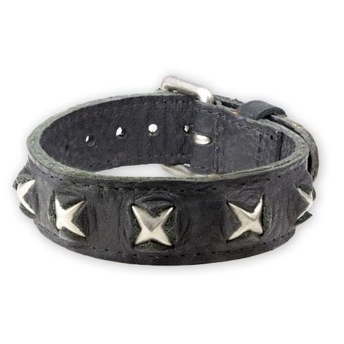 """etNox - Armband """"Metal Stars"""" Leder und Zink"""
