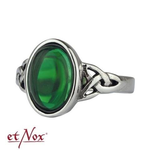 """etNox - Ring """"Celtic Green"""" Edelstahl mit Zirkonia"""