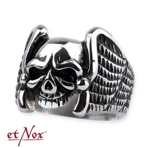 """etNox Ring """"Winged Skull"""" Edelstahl"""