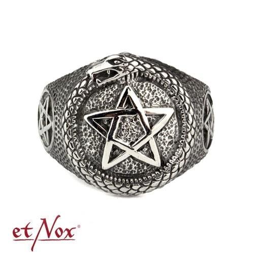 """etNox - Ring """"Pentagramm mit Schlange"""" Edelstahl"""