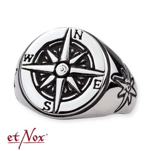 "etNox - Ring ""Nautical Star"" Edelstahl"