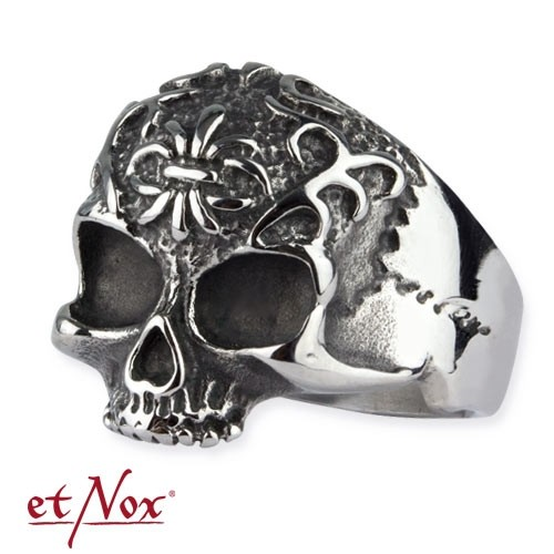 """etNox - Ring """"Ornament Skull"""" Edelstahl"""