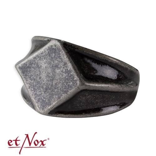 """etNox - Ring """"Quadrat"""" dunkler Edelstahl"""
