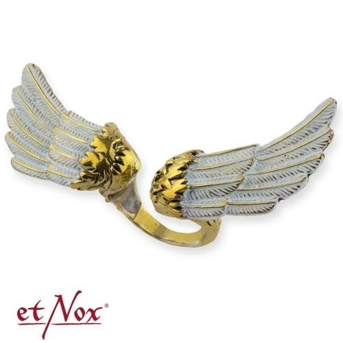 """etNox - Ring """"Angel´s Wing"""" weiß und goldfarben"""