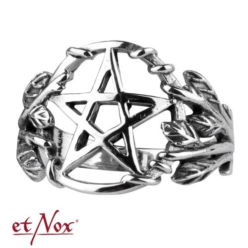 "etNox - Ring ""Gothic Pentagram"" 925 Silber"