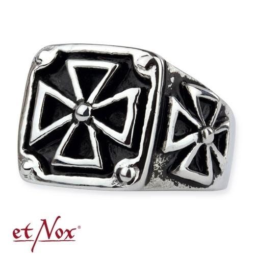 "etNox - Ring ""Black Iron Cross"" Edelstahl"