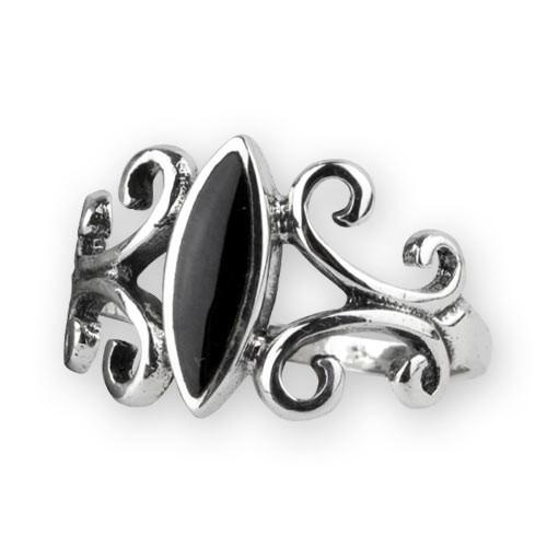 """etNox Silberring """"Black Ornament"""" mit Onyx"""