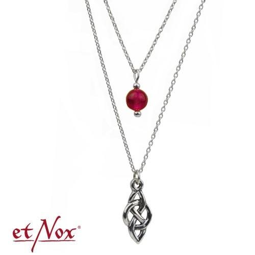 """etNox Silberkette """"Keltischer Knoten"""" mit rotem Achat"""