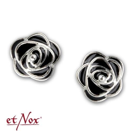 """etNox Ohrstecker """"Black Roses"""" 925 Silber + Emaille"""