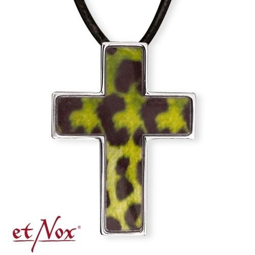 """etNox-Anhänger """"Green Leo Cross"""" Edelstahl"""