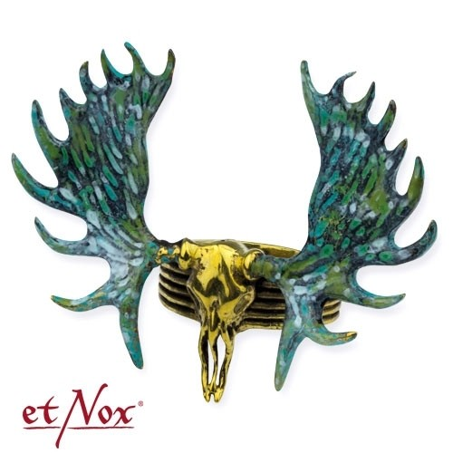 "etNox - Ring ""Moose Skull"" goldfarben"