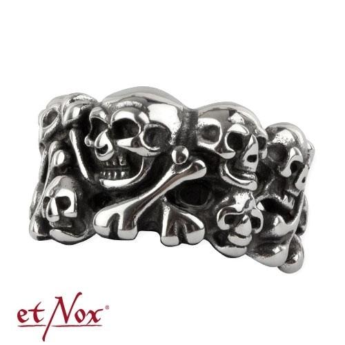 """etNox - Ring """"Skulls"""" Edelstahl"""