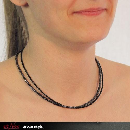 etNox - Halskette aus schwarzen/grauen Glasperlen