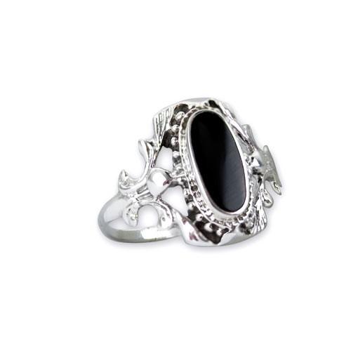 """LuxXL Silberring """"Black Ornament"""" mit Onyx"""