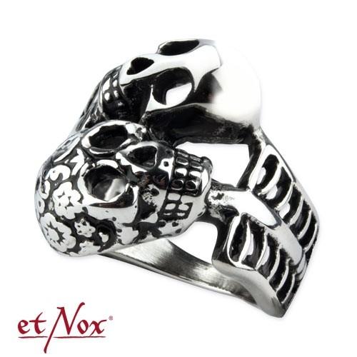 "etNox Ring ""Double Skull"" Edelstahl"