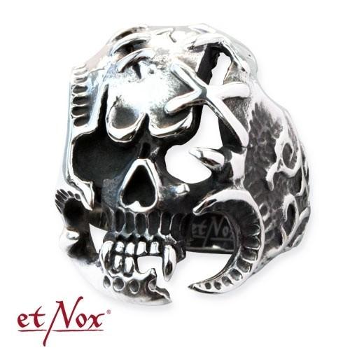 """etNox-Stahlring """"Skull"""" Edelstahl"""