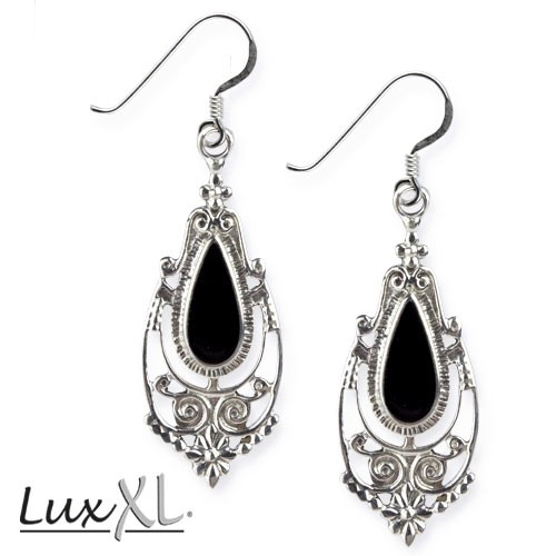 "LuxXL Ohrringe ""Onyx Ornament"" 925 Sterling Silber"