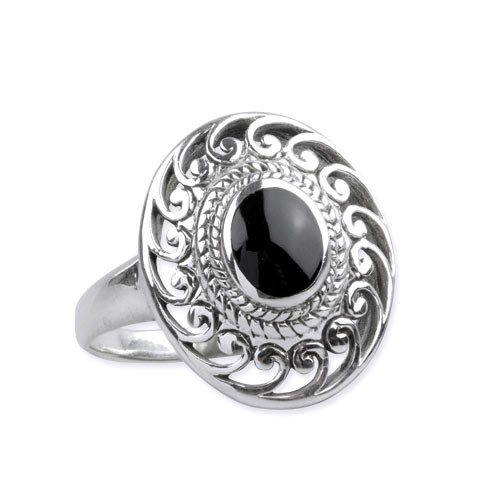 "LuxXL Silberring ""Black Ornament"" mit Onyx"