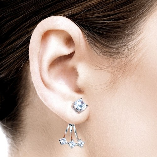 "LuxXL silver earstuds ""1:3"" mit Zirkonia"