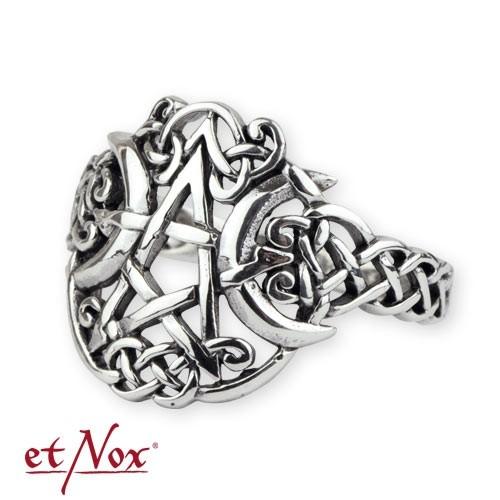 "etNox - Ring ""Mond-Pentagramm"" 925 Silber"