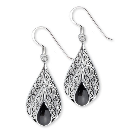 "LuxXLOhrringe ""Onyx Ornament"" 925 Sterling Silber"