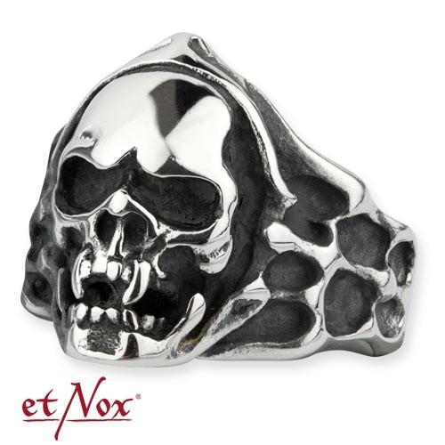 """etNox - Ring """"Mummy Skull"""" Edelstahl"""