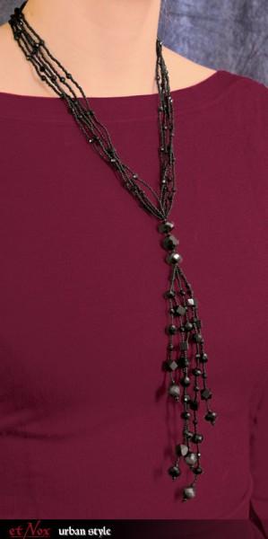 etNox - Halskette aus schwarzen Glaskristallen