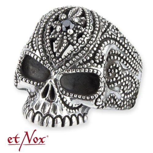 """etNox - Ring """"Tattoo Skull"""" 925 Silber"""